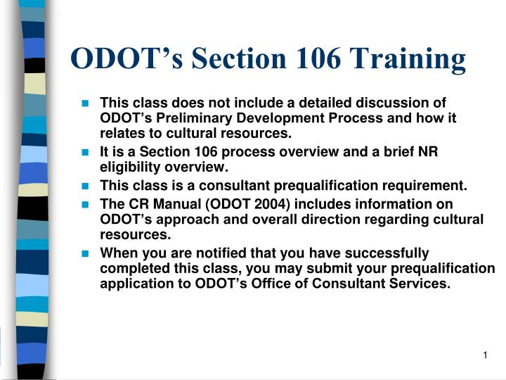 Odot s section 106 training