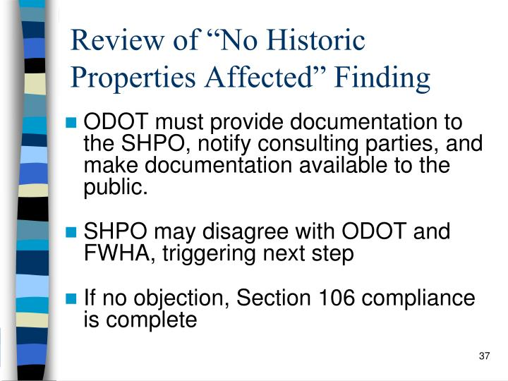 "Review of ""No Historic Properties Affected"" Finding"