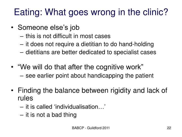 Eating: What goes wrong in the clinic?