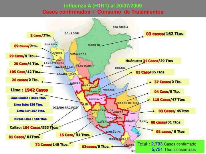 Influenza A (H1N1) al 20/07/2009