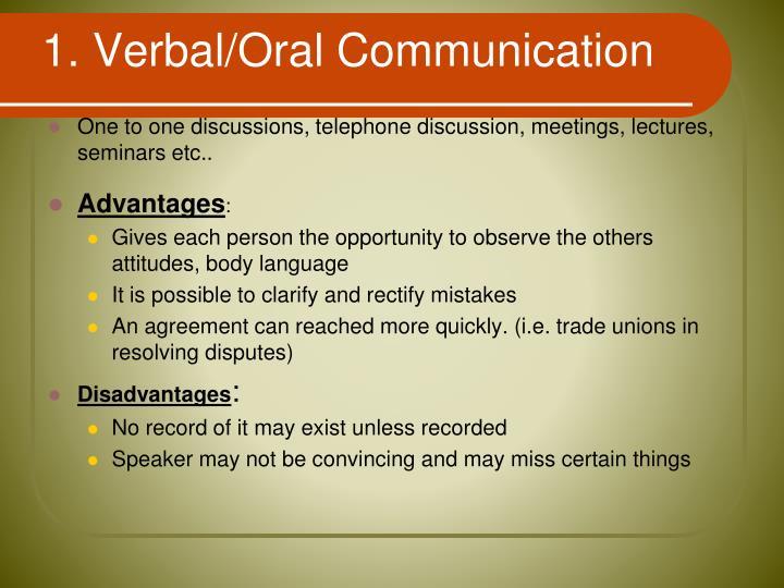 1. Verbal/Oral Communication