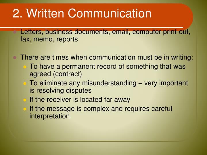 2. Written Communication