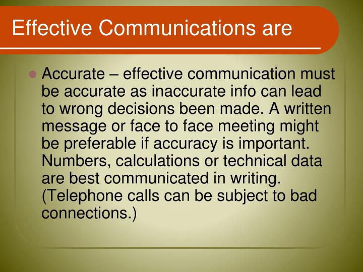 Effective Communications are