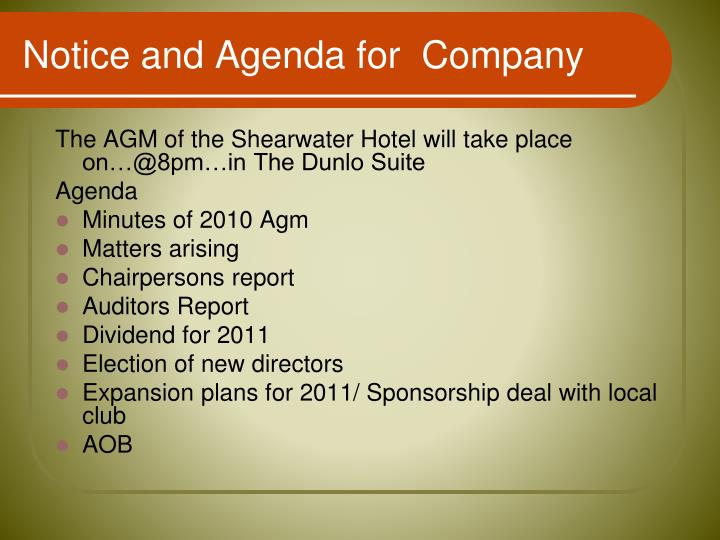 Notice and Agenda for  Company