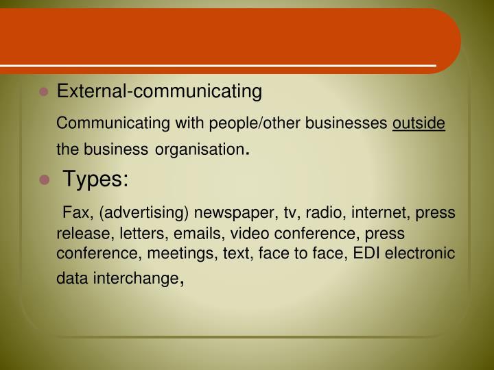 External-communicating