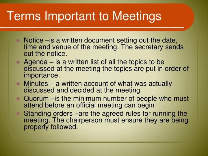 Terms Important to Meetings