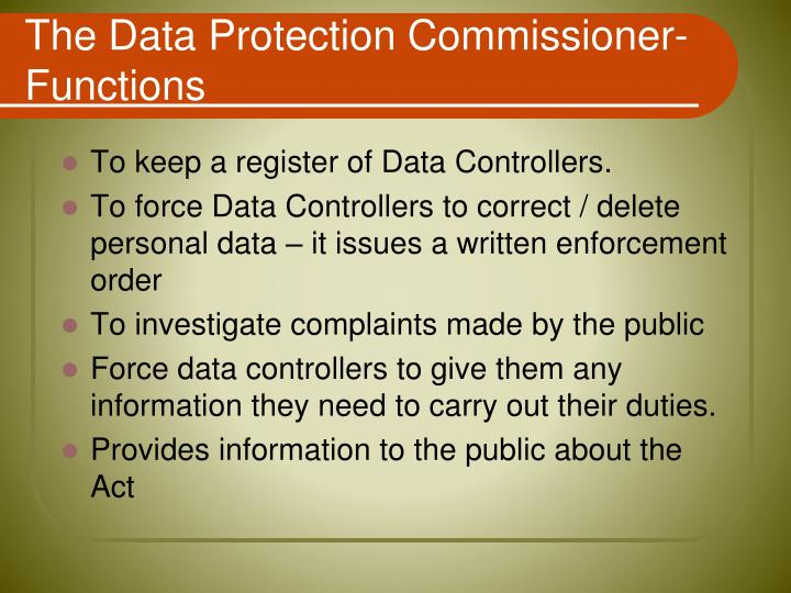 The Data Protection Commissioner-Functions