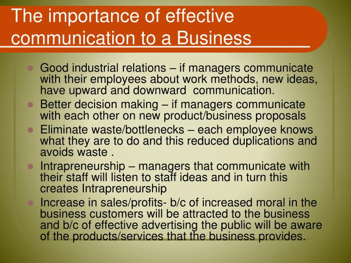 The importance of effective communication to a Business