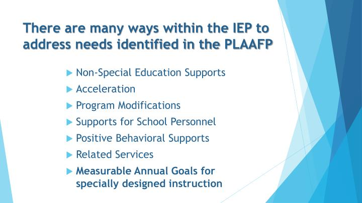There are many ways within the IEP to address needs identified in the