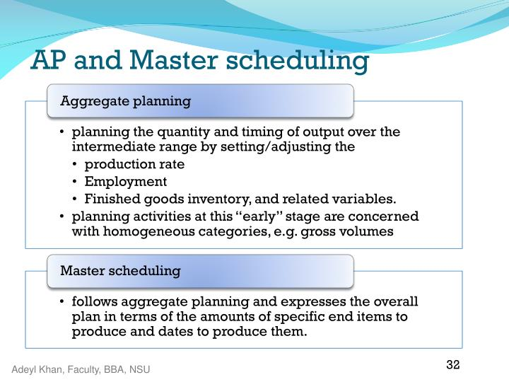 AP and Master scheduling