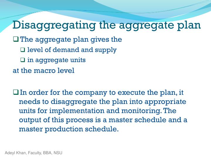 The aggregate plan gives
