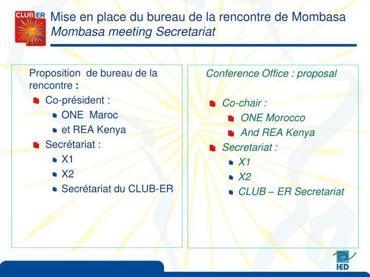 Mise en place du bureau de la rencontre de Mombasa