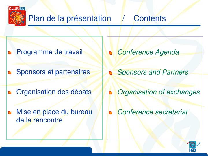 Plan de la pr sentation contents