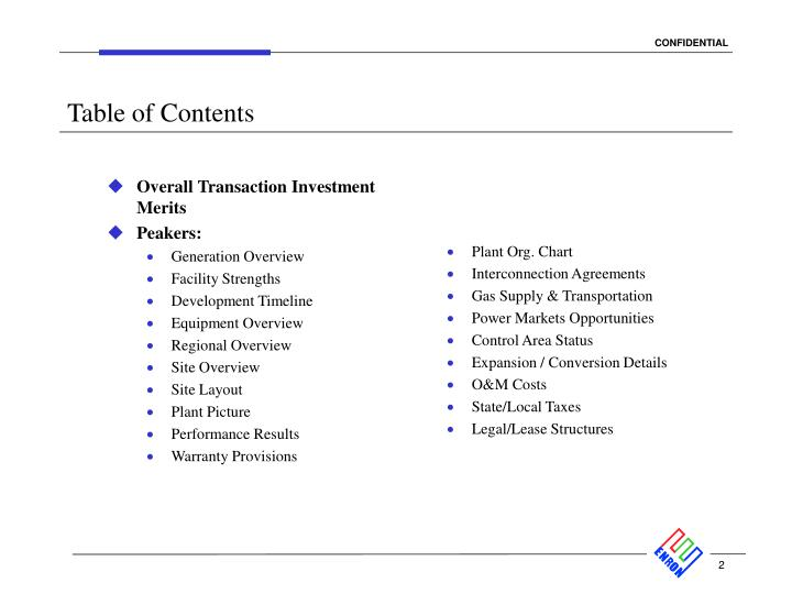 Overall Transaction Investment Merits