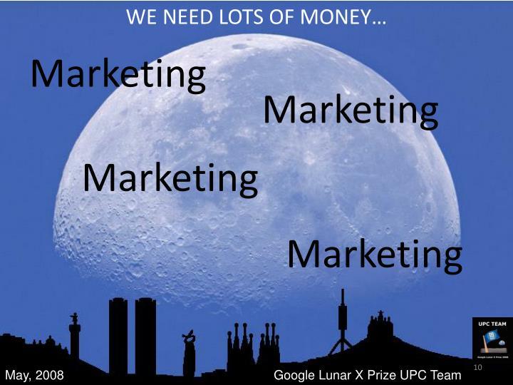 WE NEED LOTS OF MONEY…