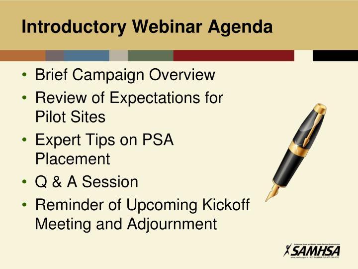 Introductory Webinar Agenda