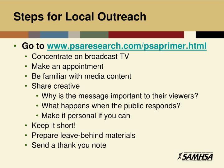 Steps for Local Outreach