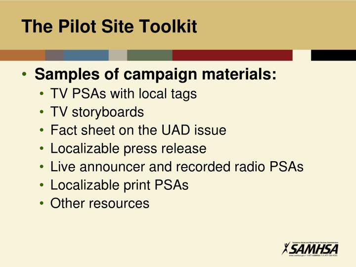 The Pilot Site Toolkit