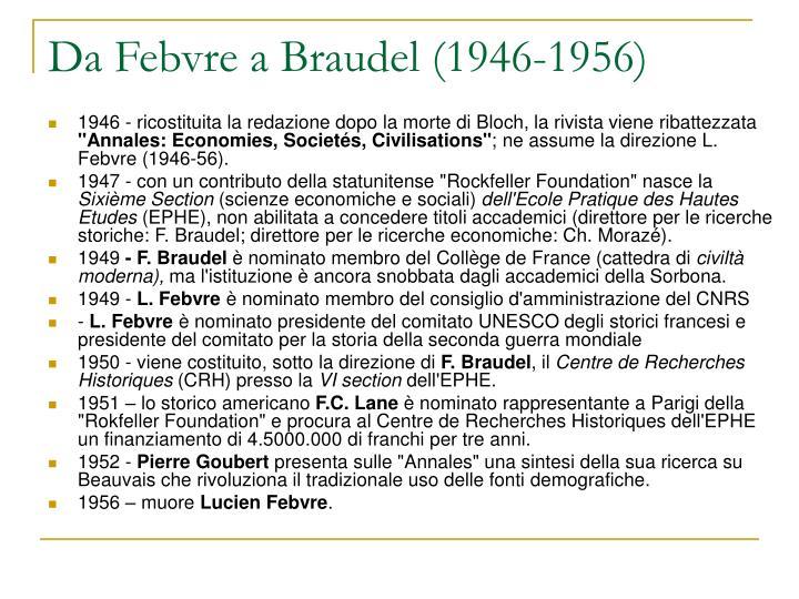 Da Febvre a Braudel (1946-1956)