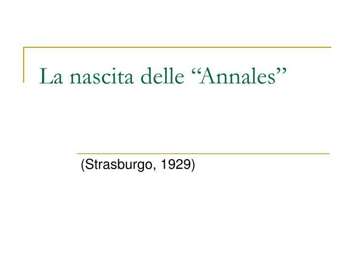 """La nascita delle """"Annales"""""""