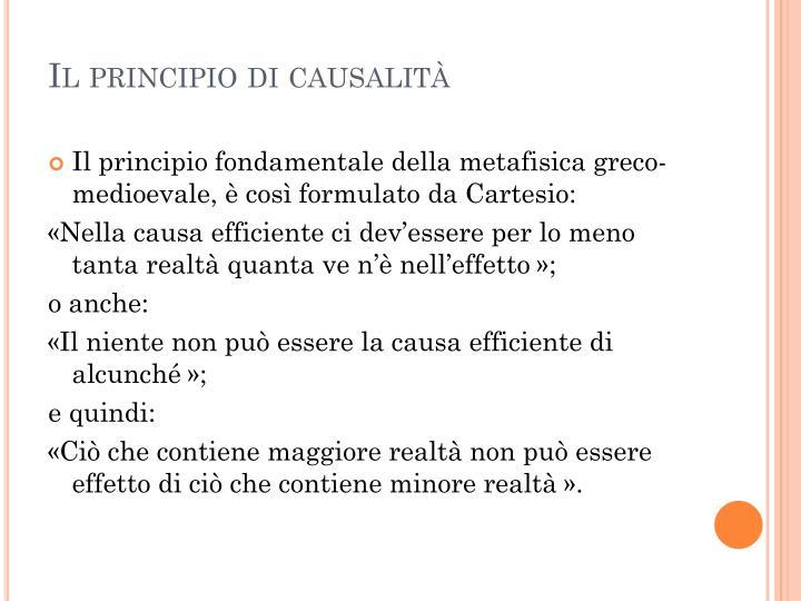 Il principio di causalità