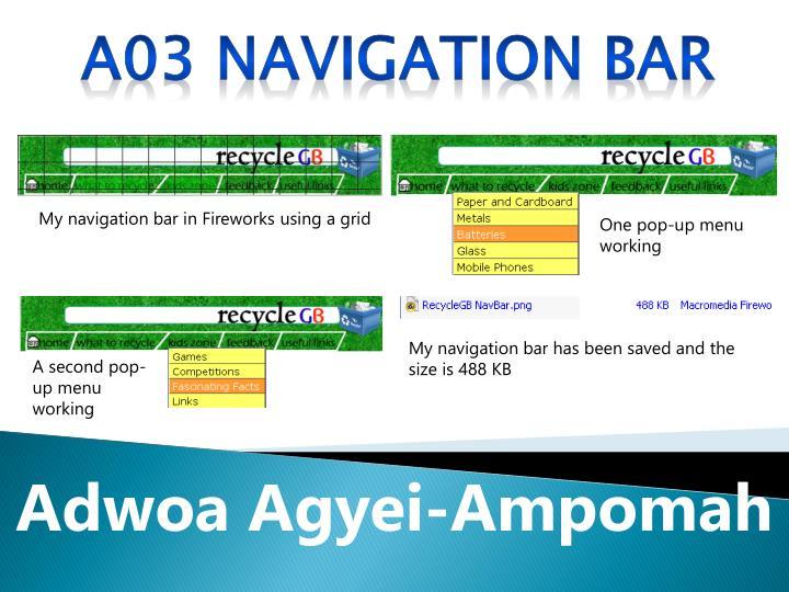 A03 Navigation bar