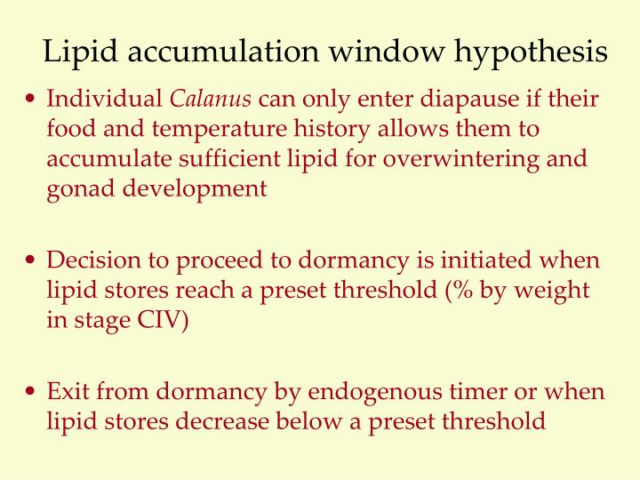 Lipid accumulation window hypothesis