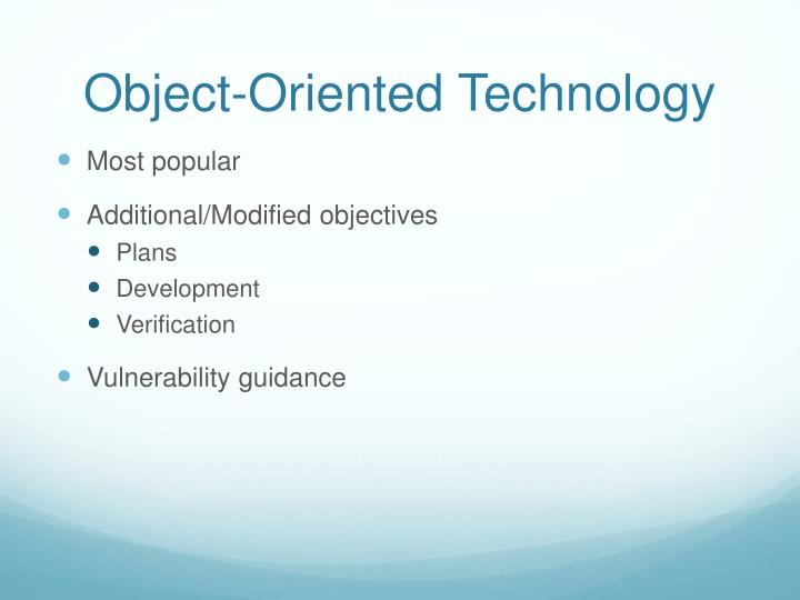 object oriented technology in software design Introduces object-oriented terms like abstraction and inheritance and shows how to define requirements and use cases and create a conceptual model of your application.