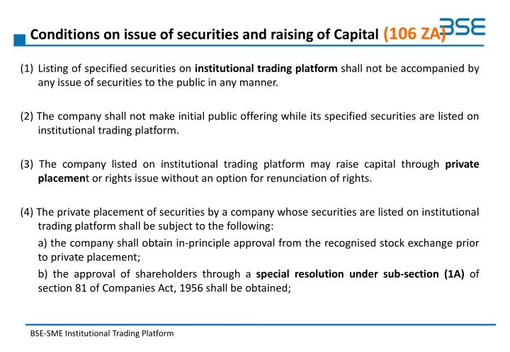 Conditions on issue of securities and raising of Capital