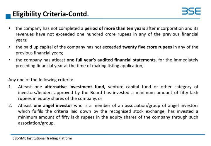 Eligibility Criteria-Contd