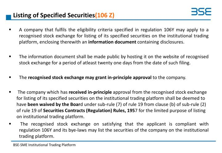 Listing of Specified Securities