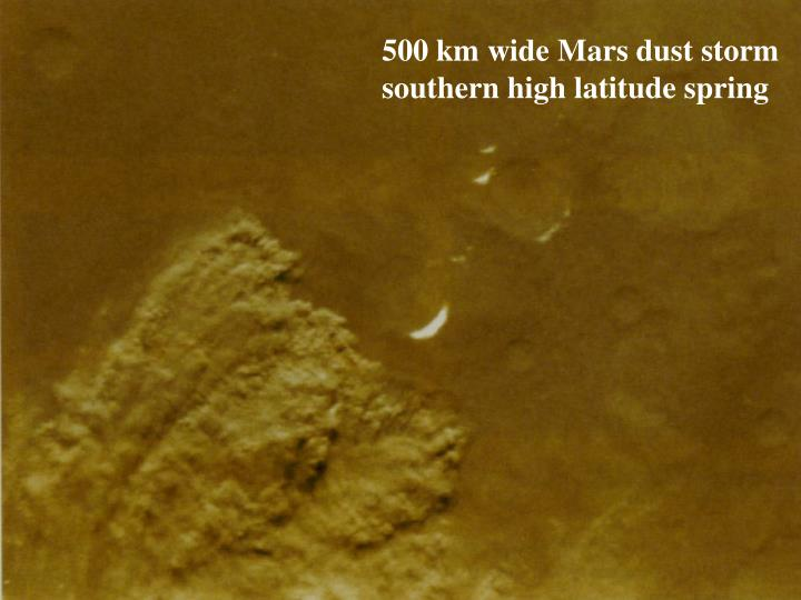 500 km wide Mars dust storm southern high latitude spring