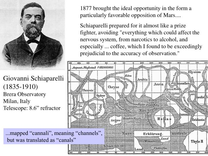 1877 brought the ideal opportunity in the form a particularly favorable opposition of Mars....