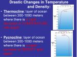 drastic changes in temperature and density