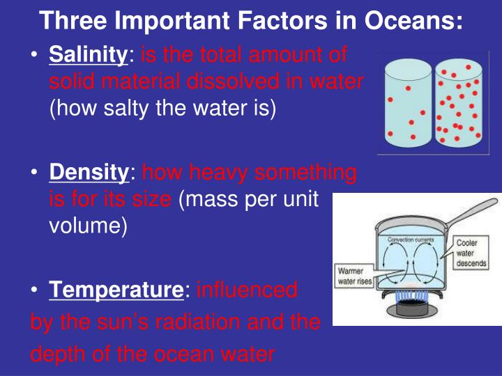 Three Important Factors in Oceans: