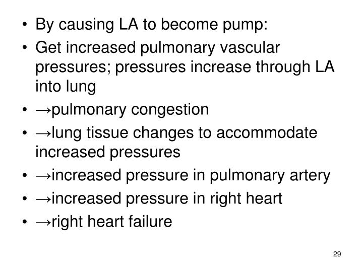 By causing LA to become pump: