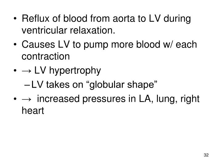 Reflux of blood from aorta to LV during ventricular relaxation.