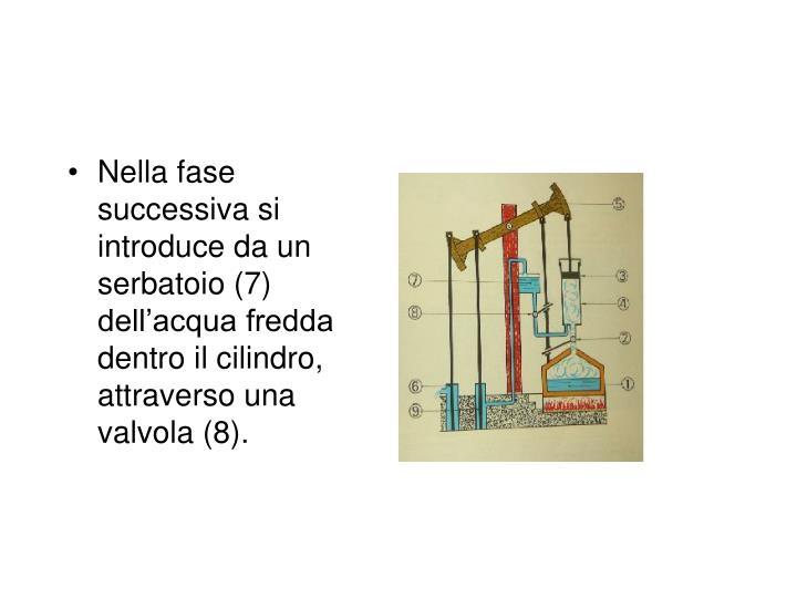 Nella fase successiva si introduce da un serbatoio (7) dell'acqua fredda dentro il cilindro, attraverso una valvola (8).