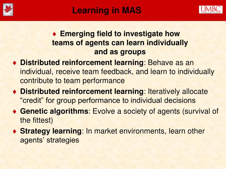 Learning in MAS