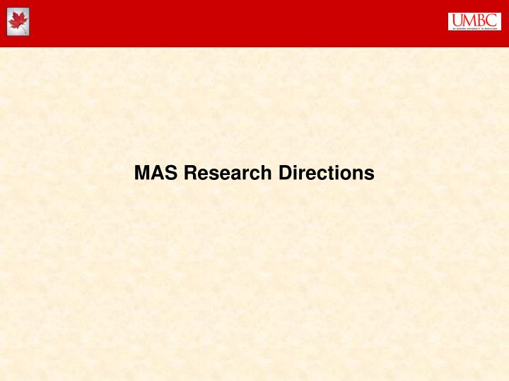 MAS Research Directions