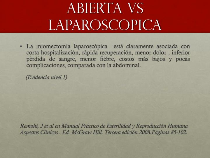 ABIERTA VS LAPAROSCOPICA