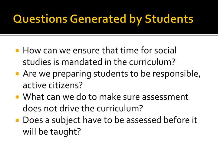 Questions Generated by Students