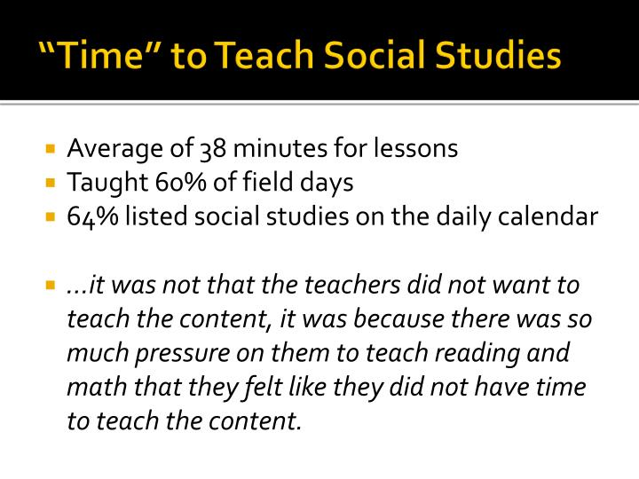 """Time"" to Teach Social Studies"