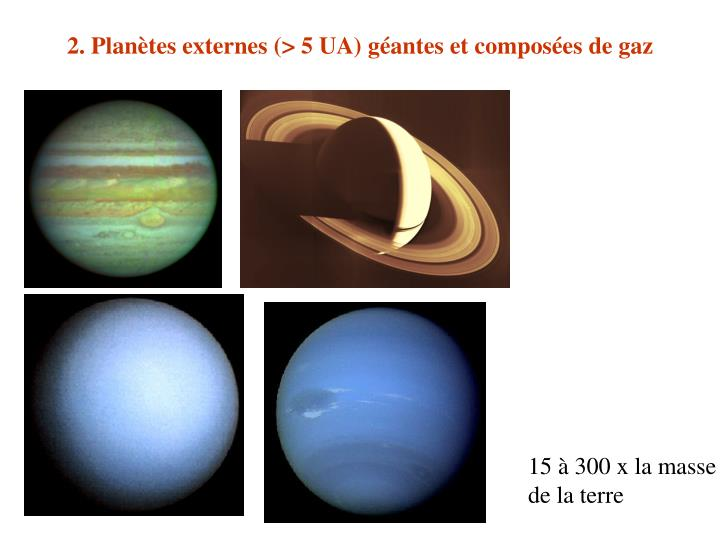 2. Planètes externes (> 5 UA) géantes et composées de gaz