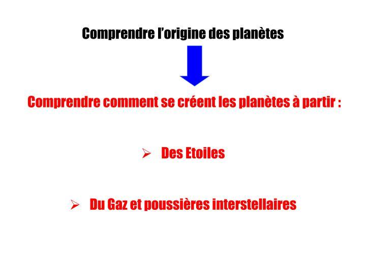 Comprendre l'origine des planètes
