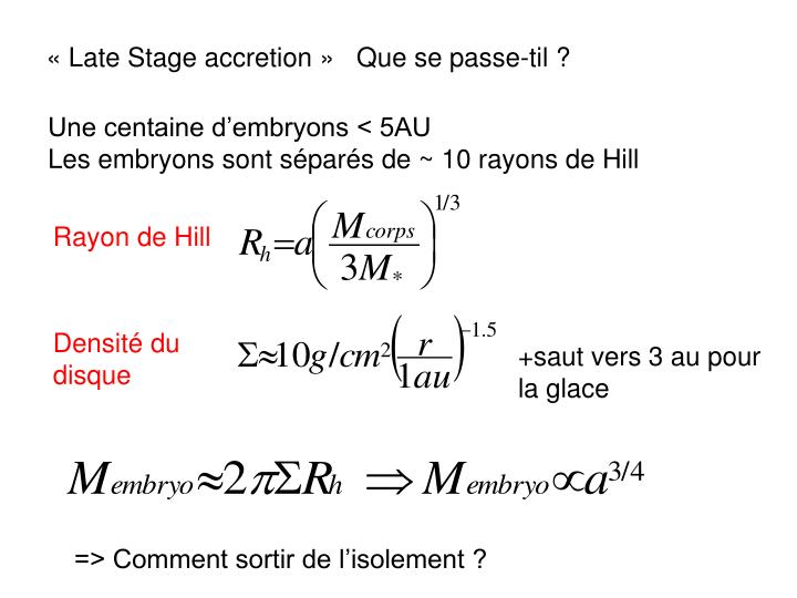 « Late Stage accretion »   Que se passe-til ?
