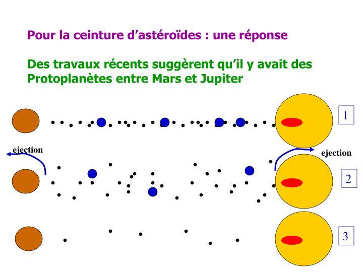 Pour la ceinture d'astéroïdes : une réponse