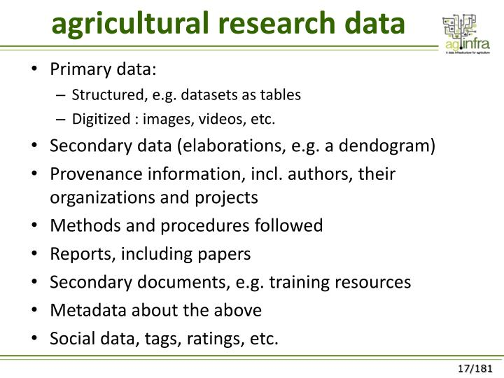 agricultural research data