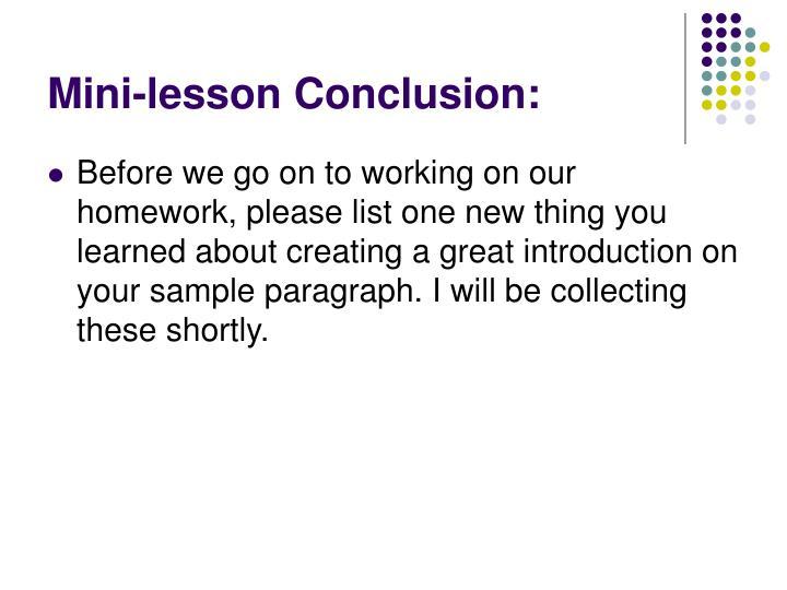 Mini-lesson Conclusion: