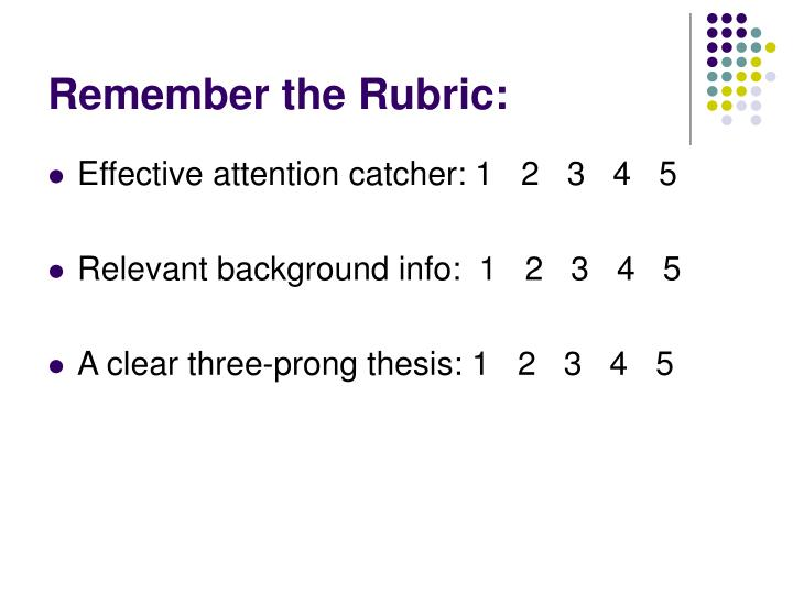 Remember the Rubric: